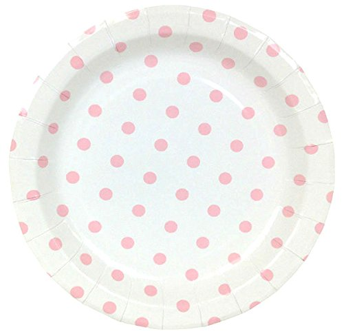 Just Artifacts Round Paper Party Plates 9in (12pcs) - Baby Pink Polka Dot - Decorative Tableware for Birthday Parties, Baby Showers, Grad Parties, Weddings, and Life Celebrations! (Dot Pink Plates Polka)