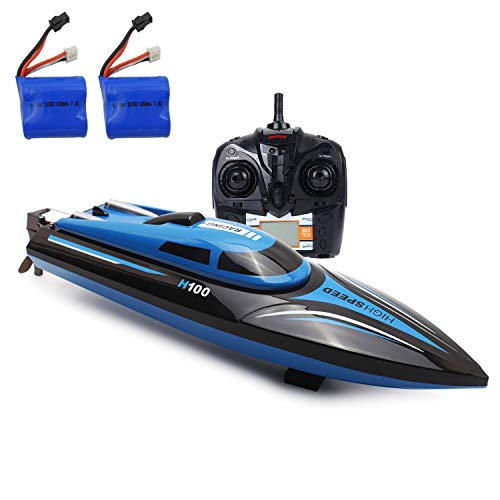 (SZJJX RC Boat 2.4GHz 4 Channels Remote Control Electric Racing Boat 25KM/H High Speed Automatically 180 Degree Flipping Transmitter with LCD Screen Blue)
