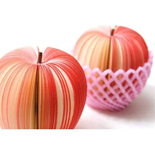 Cute/Creative/Practical Apple-shaped Fruit Sticky Note, DIYFruit Sticker Bookmark Point It Marker Shmei Memo Flags Sticky Notes for Office Stationary Supplies and Home Decorations (A)