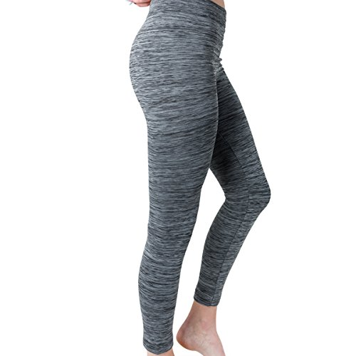 Attrack Power Women's Fleece-Lined Jersey Leggings (Black/Grey, Large/Extra - Black Do Designer Sales Have Stores Friday