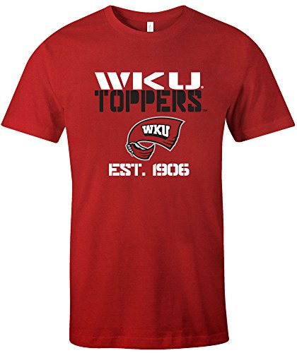 Image One NCAA Western Kentucky Hill toppers Est Stack Jersey Short Sleeve T-Shirt, Red,Medium