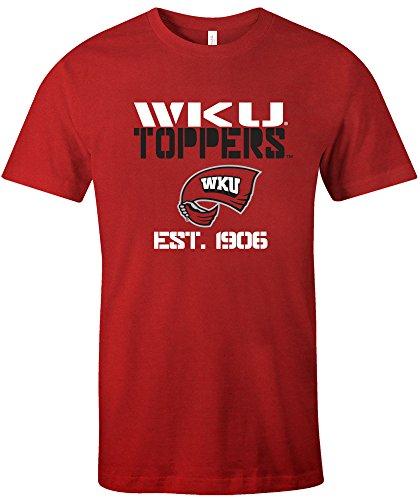 NCAA Western Kentucky Hill toppers Est Stack Jersey Short Sleeve T-Shirt, Red,Medium