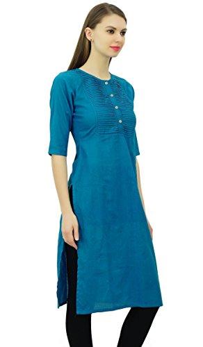 Droite Kurti Coton Peignoir Indienne Phagun Tunique Ethniques Femmes Bleu Sarcelle Designer Kurta WTZAxqww8z