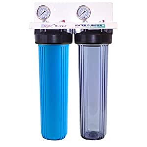 "20""x4.5"" Big Blue two Stage Whole House Water Filter System, 3/4"" in/out Ports"