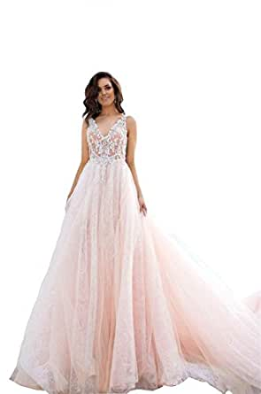 Banfvting Lace Backless Beach Wedding Dresses Beaded Bridal Gowns