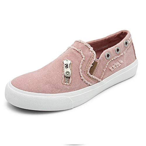 Susanny Fashion Sneakers Women Canvas Casual Loafers Slip on Distressed Boat Walking Shoes Pink 7.5 B (M) US