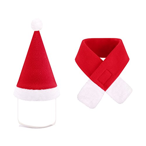 wangstar Santa Dog Hat with Scarf, Pet Winter Dress Dog Cat Christmas Costume, Santa Hat for Dog Cat Kitten (S)