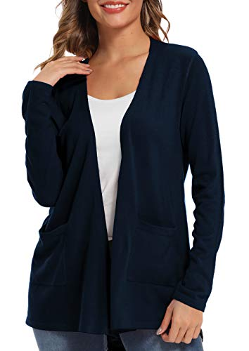 Urban CoCo Women's Long Sleeve Open Front Cardigan Knit Sweater with Pockets