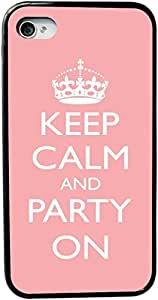 Rikki KnightTM Keep Calm and Party on Light Pink Color Design iPhone 4 & 4s Case Cover (Black Rubber with bumper protection) for Apple iPhone 4 & 4s by icecream design