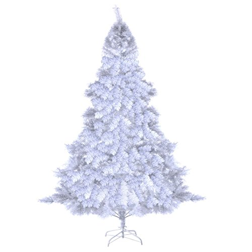 Goplus 6Ft Artificial PVC White Christmas Tree with Metal Stand Holiday Season Indoor Outdoor White (6 Feet)
