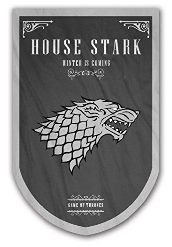 Game of Thrones Style Banner – House Stark Flag 37x24in – Printed on Both Sides – Durable Enough for Outside Conditions – Perfect Barware Man Cave Gift – Unique GOT Collectible Accessory