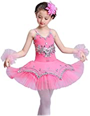 ORIDOOR Girl's Skirted Leotards Ballet Dance Outfit Sparkle Tutu Princess Dress Ballerina Costumes with Arm Band 4-13Y
