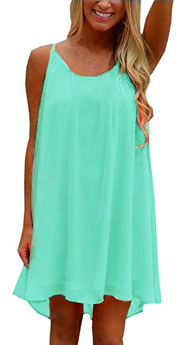 ReachMe Womens Plus Size Chiffon Bathing Suit Cover ups Spaghetti Strap Beach Cover Up Tank Top(Mint XL)