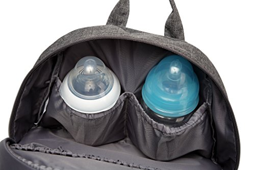 jun-ying bebé bolsa de pañales mochila resistente al agua Oxford bolsa de aislamiento de pañales para carrito para elegante mamá y papá gris gris