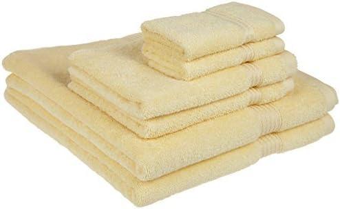 Superior Collection - Juego de Toallas de algodón Peinado de 6 Piezas (100% algodón Peinado, Canario): Amazon.es: Hogar