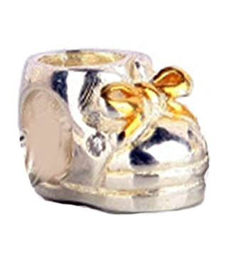 ef803a04ba4b2 Amazon.com: Golden Over Baby Shoe Charm Bead - .925 Sterling Silver ...