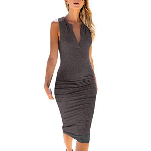 Clearance Sale! ZTY66 Women's Business Wear to Work Sleeveless V Neck Bodycon Pencil Dress (Dark Gray, S) by ZTY66_women Dress