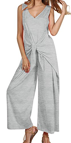 Ybenlow Womens V Neck Sleeveless Tie Waist Wide Leg Long Pants Loose Jumpsuits Rompers (Jumpsuit Wrap)