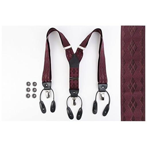 (アルバート・サーストン) ALBERT THURSTON メンズ ブレイシス 英国製 ダークワイン無地 アーガイル刺繍 サスペンダー sp3456