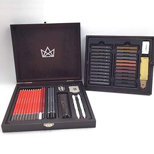 Set  51 Piezas Para Dibujo Sketching Caja De Madera Kingart