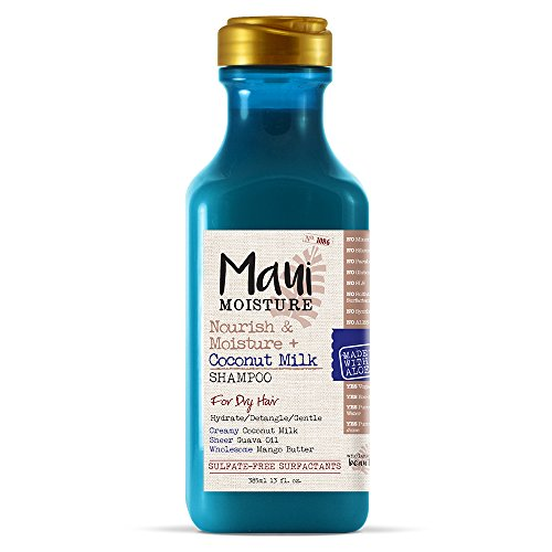 Maui Moisture Nourish & Moisture + Coconut Milk Shampoo, 13 Ounce, Lightweight for Daily Use Without Product Build-Up, Sulfate Free Shampoo with Coconut Milk and Guava Oil ()