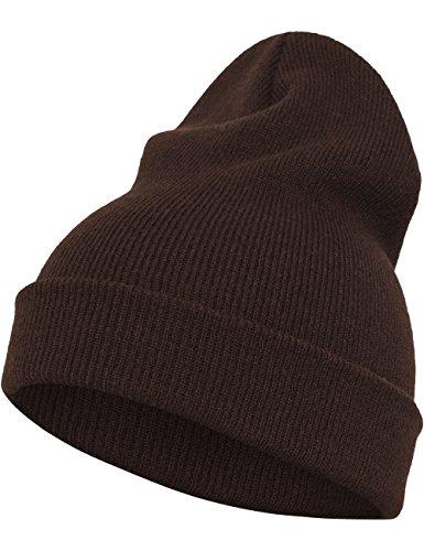 Flexfit marrón tamaño Color Pesado el Largo Gorro única Talla Unisex año Todo RzwrREq8