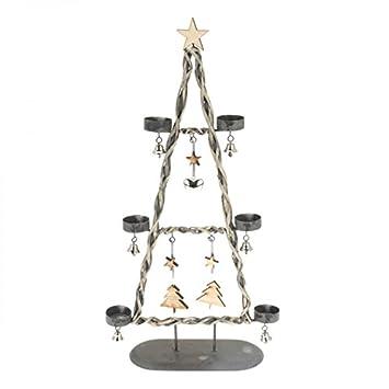 Weihnachtsbaum Rattan.Teelichtbaum 54cm Grau Metall Rattan Teelichthalter Tannenbaum