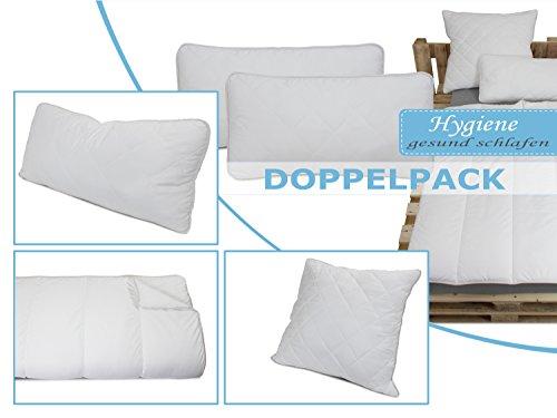 Doppelpack zum Sparpreis - erstklassige Steppbettdecken oder Kopfkissen Hygiene für erholsamen und gesunden Schlaf - geprüft nach Öko-Tex Standard 100 - Kopfkissen in 2 Größen oder Steppbett in 3 Größen erhältlich, Kopfkissen 40 x 80 cm