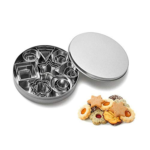 (FishMM Mini Geometric Shaped Cookie Biscuit Cutter Set 24 Rectangle Square Heart Triangle Round Tiny Circle Baking Stainless Steel Metal Molds)