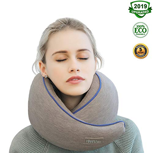 POON Luxury Snail Travel Pillow for Airplane and Car, Unique U Shaped 100% Memory Foam Filled Head/Neck Support, Headrest Sleep Aid Kit for Seat, with Portable Bag, Sleep Mask and ()