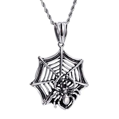 SAINTHERO Men's Stainless Steel Silver Black Tone Halloween Creepy Spider Web Bug Cutout Pendant Necklace (Out Eagle Cut Pendant)