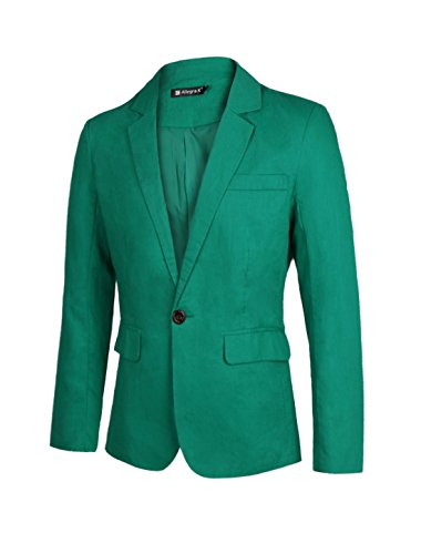 Allegra K Men Buttons Decor Slim Fit Double Flap Pockets Casual Blazer Small Green