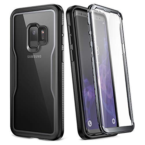 YOUMAKER Crystal Clear Case for Galaxy S9 5.8 inch, Full Body with Built-in Screen Protector Heavy Duty Protection Slim Fit Shockproof Rugged Cover for Samsung Galaxy S9 5.8 inch (2018) - Clear/Black Clear Crystal Case Protector Cover