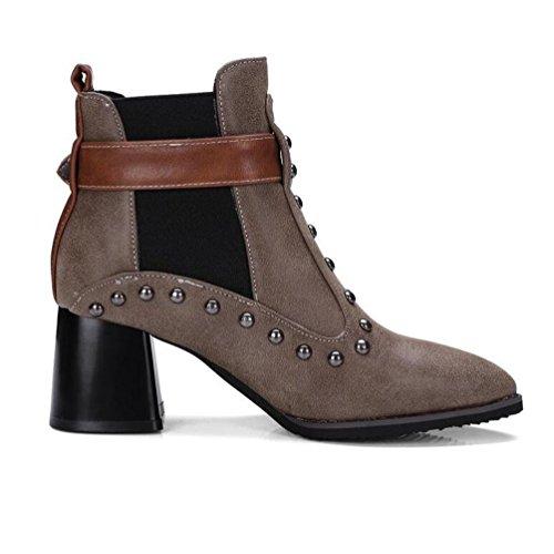 Dames brown BOTXV Courtes Bottes Heel Femmes Mid Et Bout Boucle 48 Style Taille Martin Ceinture Punk Grande Rivet terry 40 Bottes Bottes Hiver Pointu Rough 44wrg5qnC