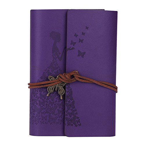 Refillable Blank Notebook Journals Writing Vintage Butterfly Dress 6 Ring Paper Memo Book Planning Pad with String Closure