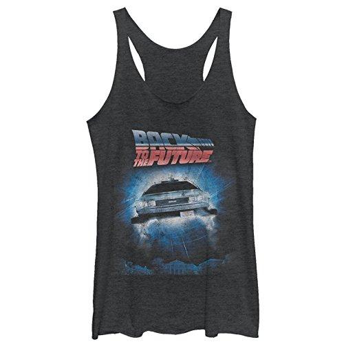 Back to The Future Women's Retro Delorean Poster Black Heather Racerback Tank Top ()
