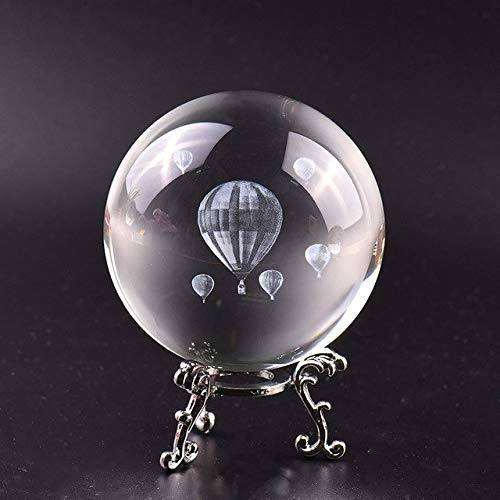ZAMTAC 8cm Crystal Ball 3D Laser Hot Air Balloon Feng Shui Desktop Decoration Glass Ball Crafts Gift Home Decoration Metal Accessories - (Color: Ball and Silver Base)