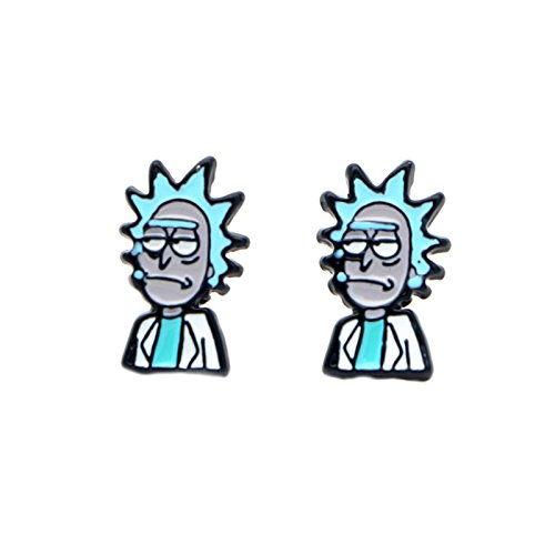Rick and Morty Earrings Enamel Post Studs TV Gift Series Scientist Science Cartoon Networks Characters Theme]()
