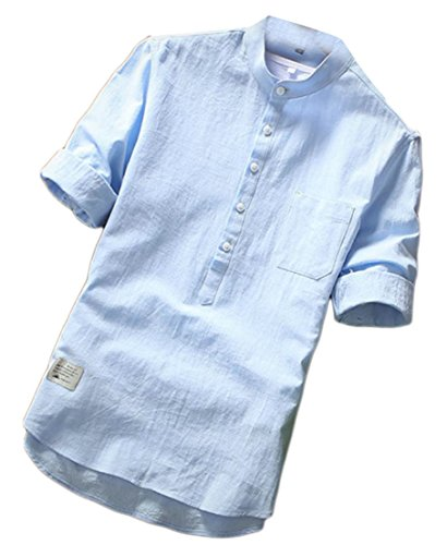 Pandapang Men's 3/4 Sleeve Breathable Cotton Linen Casual Button Down Shirts Sky Blue S (Pinpoint 3/4 Shirt Sleeve)