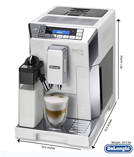 Delonghi super-automatic espresso coffee machine - with an adjustable silent ceramic grinder, double boiler, milk frother for brewing espresso, cappuccino, latte & macchiato, Eletta ECAM 45760 by DeLonghi (Image #4)