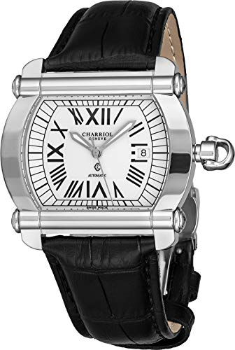 Charriol Actor Tonneau Mens Automatic Watch - White Face with Luminous Hands, Date and Sapphire Crystal - Stainless Steel Black Leather Band Swiss Made Watch CCHATXL.361.HATX001 (Watch Tonneau Automatic)