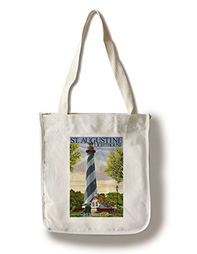 St. Augustine, Florida Lighthouse (100% Cotton Tote Bag - Reusable, Gussets, Made in - Augustine In Shopping St