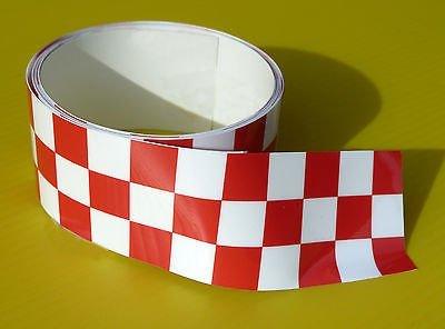 CAFE RACER KARIERTES BAND Stripe ROT/weiß aufkleber 1220x30mm 2 LÄNGE