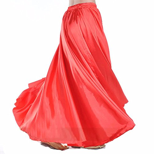 Wuchieal Women's Belly Dance Satin Skirt Full Circle Long Sexy Dancing Costume Lady dress Red - Sexy Belly Dancing Costumes