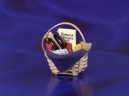 International Miniatures Dollhouse Miniature Sewing Basket