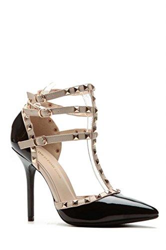 Womens Gladiator DOrsay Rockstud01 Multi Metal Stud Stone Ankle T Strap Pointy Studed Stiletto Heel Pumps