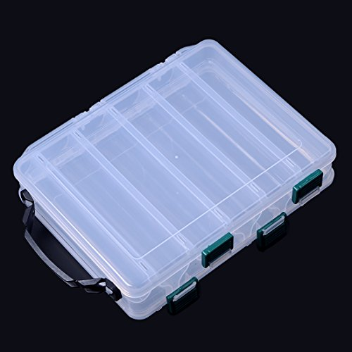 ge Box Fishing Lure Bait Hooks Double-sided Visible Plastic Clear Box (10 compartments) ()
