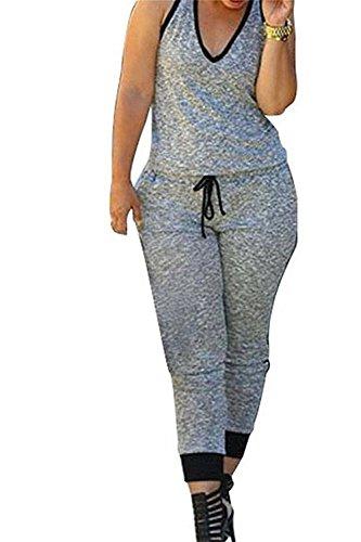 Chic D Women's Contrast Trim V Neck Sleeveless Jumpsuits Sport Romper