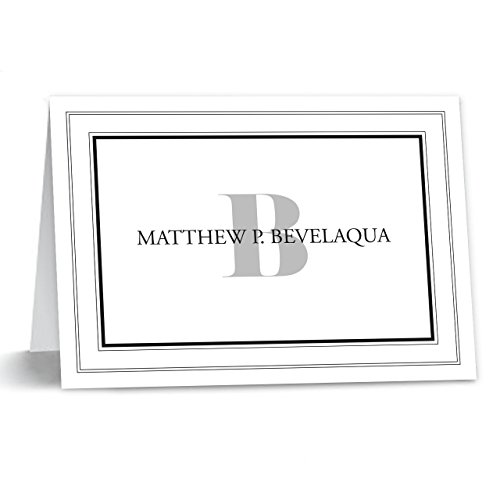 Bordered Monogramed Notecard Foldover Personalized Stationery - Set of 12 cards - 12 plain, white envelopes Photo #2