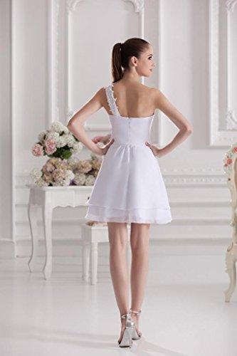 Kurz BRIDE Elfenbein Schulter GEORGE Abendkleid Chiffon Eine UPAanIp
